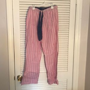 Pink and white striped pajama bottoms